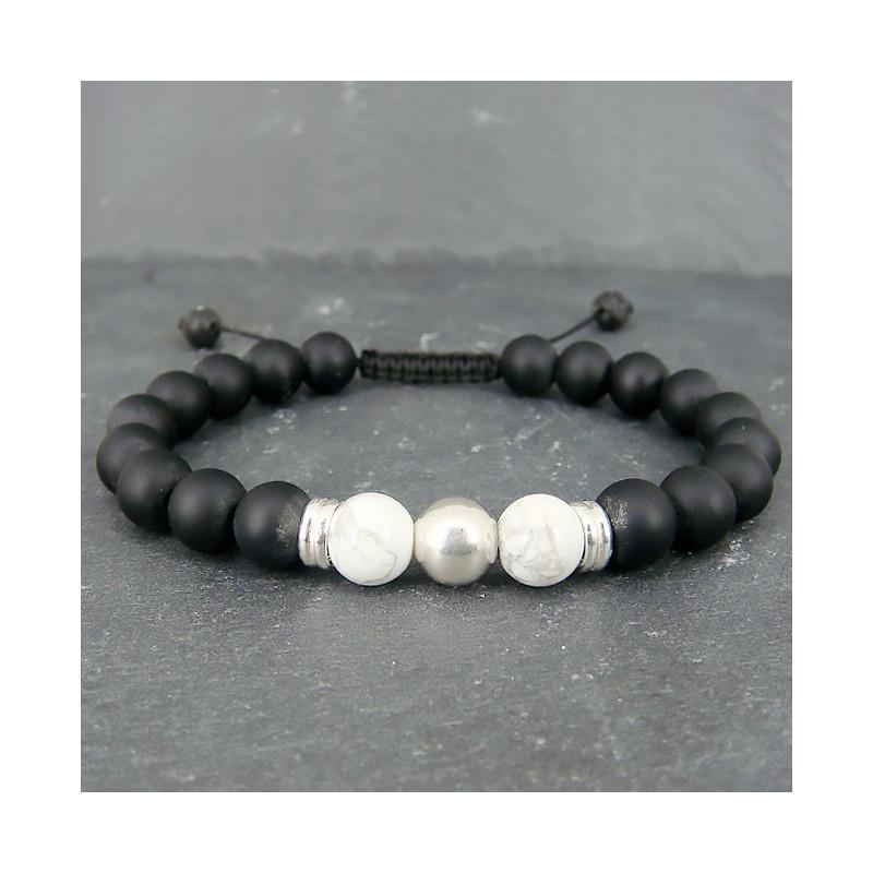 Onyx noir mat et howlite, Bracelet homme