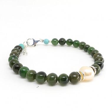 Jade, biwa et turquoise, bracelet