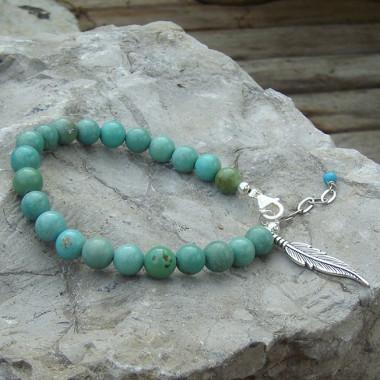 Turquoise USA , bracelet avec breloque feuille