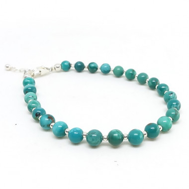 Turquoise USA , bracelet perles 4 mm