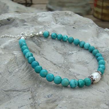Turquoise et biwa , bracelet perles 5 et 6 mm