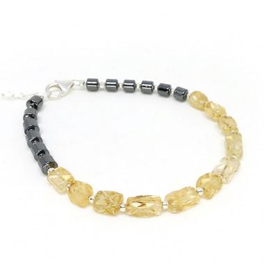 Citrine et hématite, bracelet