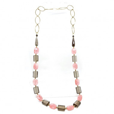 Quartz fumé, quartz cherry, grand collier