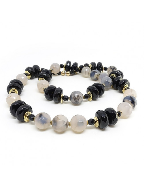 Onyx, agate naturelle craquelée, long collier