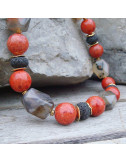 Agate, lave et gorgone, long collier