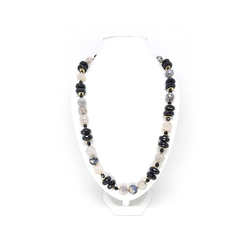 Onyx, agate naturelle craquelée, long collier