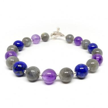 Labradorite, améthyste et lapis lazuli, bracelet