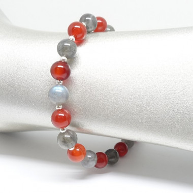 Labradorite, cornaline, bracelet