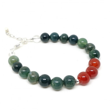 Agate mousse, cornaline, bracelet