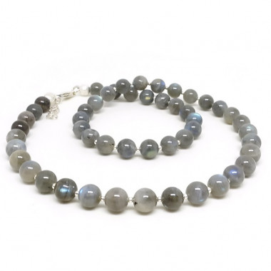 Collier en pierre labradorite 8mm