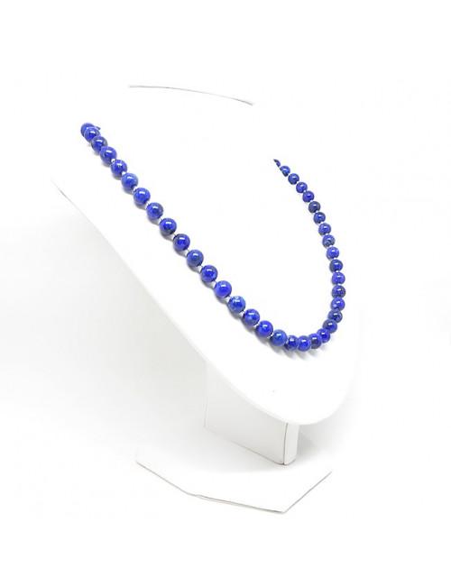 Lapis lazuli et perles argent, collier en perles 8mm