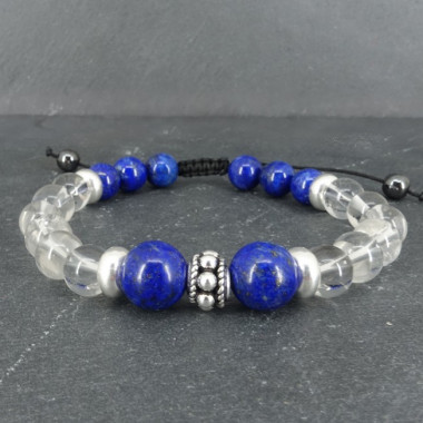 Lapis lazuli et cristal de roche, bracelet homme