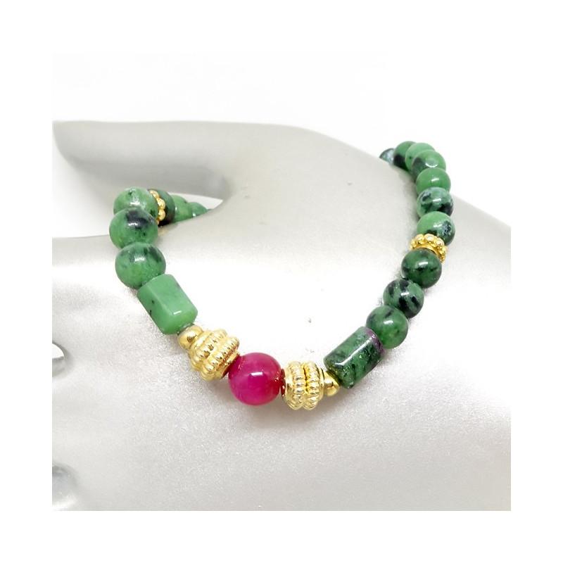 Zoïsite et perle de rubis, Bracelet extensible