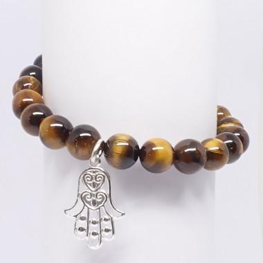 "Bracelet extensible en oeil de tigre ""main de fatma"", perles de  8 mm"