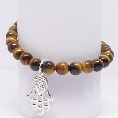 "Bracelet extensible en oeil de tigre ""main de fatma"", perles de 6 mm"