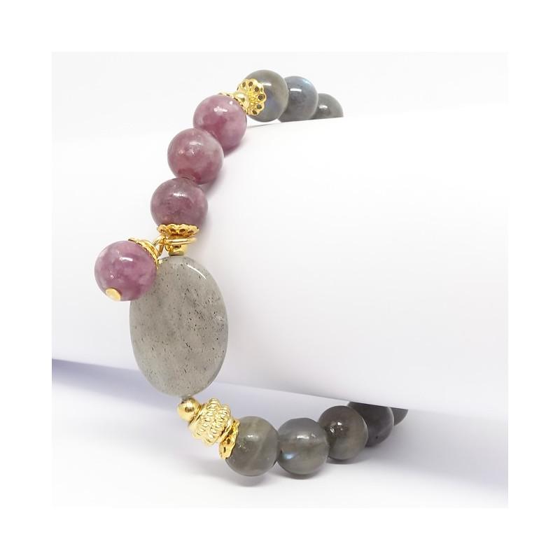 Lépidolite et labradorite, Bracelet extensible