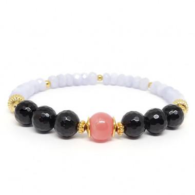 Calcédoine, tourmaline noire et rhodochrosite, Bracelet extensible