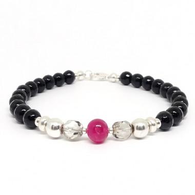 Onyx facetté, rubis et bohémian Crystal, bracelet