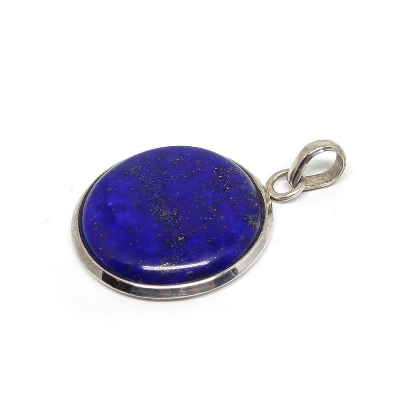 Lapis lazuli, Pendentif rond sur argent 925