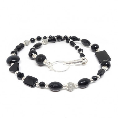 Onyx et quartz tourmaline, long collier