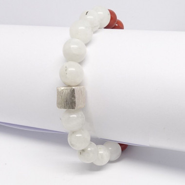 Pierre de lune, jadéite et jaspe rouge, bracelet extensible