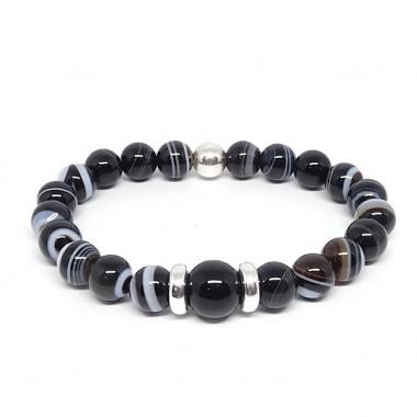 Agate noire et onyx, Bracelet extensible