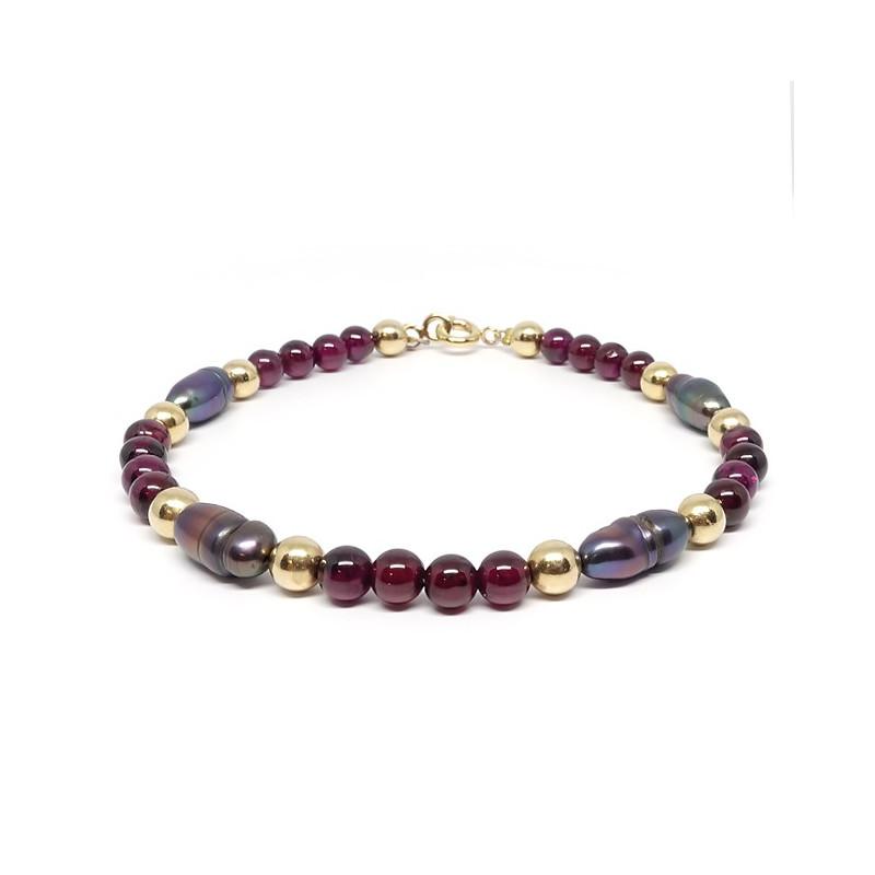 Grenat et perles biwa, Bracelet avec plaqué or