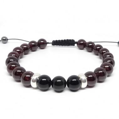 Grenat et obsidienne, Bracelet homme