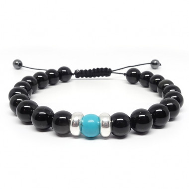 Obsidienne et turquoise, Bracelet homme