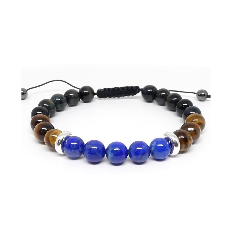 Oeil de faucon, oeil de tigre et lapis lazuli, Bracelet homme
