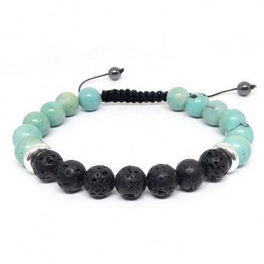 Turquoise et pierre de lave, Bracelet homme