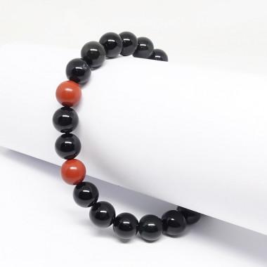 Obsidienne et jaspe rouge, Bracelet homme