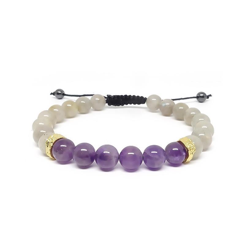Labradorite et améthyste, bracelet homme