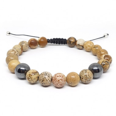 Jaspe paysage et Hematite, bracelet homme