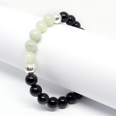 Obsidienne et jadéite, Bracelet extensible