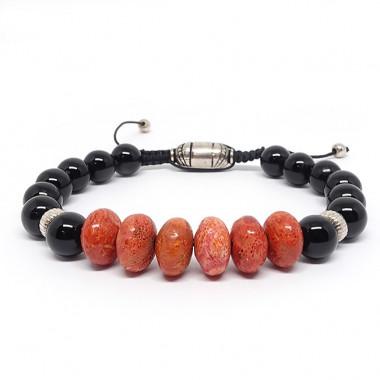 Obsdienne noire et corail gorgone, Bracelet homme