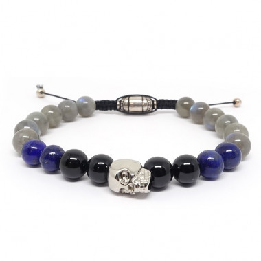 Onyx, lapis lazuli et labradorite, Bracelet homme