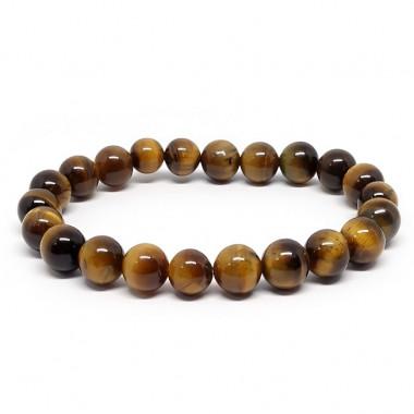 Oeil de tigre, Bracelet extensible perles de  8 mm