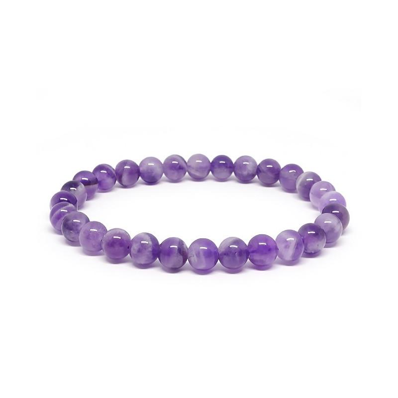 Améthyste, Bracelet extensible perles de 6 mm