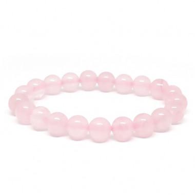Quartz rose, Bracelet extensible perles de 8 mm