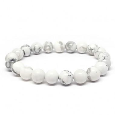 Howlite, Bracelet extensible perles de 8 mm