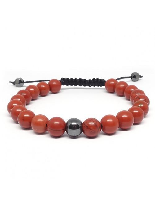 Jaspe rouge et hématite, Bracelet homme