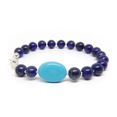 Lapis lazuli et turquoise, Bracelet création