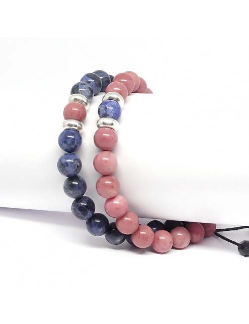 L'association de la rhodonite et sodalite confère à ce bracelet une meilleure ...