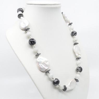 Collier chunky création en Obsidienne neige, Pierre de lune et perle biwa