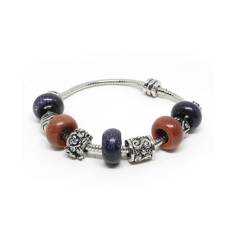 "Bracelet pierre de soleil ""goldstone"""