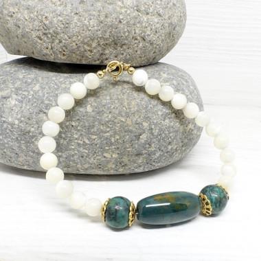Nacre, agate mousse et turquoise africaine, Bracelet création