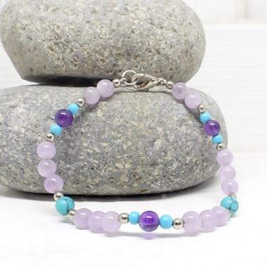 Améthyste et turquoise, Bracelet création