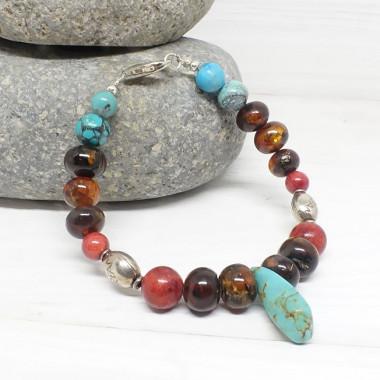 Ambre, turquoise et corail, Bracelet