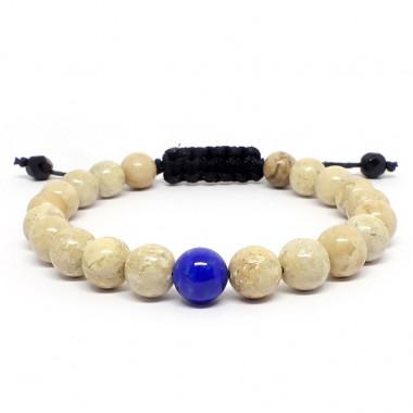 Perles 8 mm de Jaspe paysage et lapis lazuli